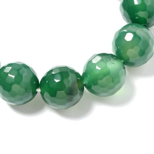 Green Agate (Rnd 14-16 mm) Stretchable Bracelet (Size 6 to 9) 333.500 Ct.