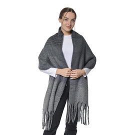 Grey and Black Colour Ladies Scarf with Tassels (Size 45x190+18cm)