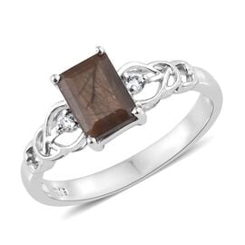 Copper Sapphire (Oct 2.15 Ct), White Topaz Ring in Platinum Overlay Sterling Silver 2.250 Ct.