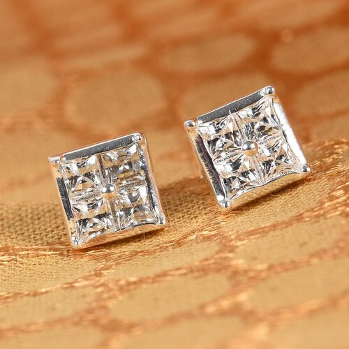J Francis - Sterling Silver Stud Earrings (with Push Back) Made with SWAROVSKI ZIRCONIA