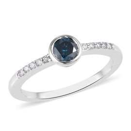 9K White Gold Blue Diamond (Rnd), White Diamond (I1/G-H) Ring 0.50 Ct.