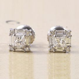 RHAPSODY 950 Platinum IGI Certified Diamond (VS/E-F) Stud Earrings (with Screw Back) 0.50 Ct.