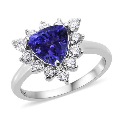 RHAPSODY 2 Carat AAAA Tanzanite and Diamond Halo Ring in 950 Platinum 5.5 Grams VS EF
