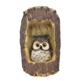 Decorative Solar Owl in Tree Trunk Light