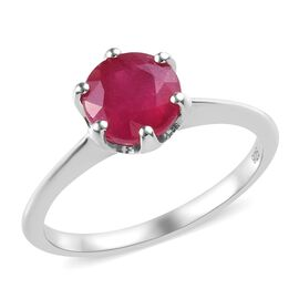 African Ruby Solitaire Ring in Platinum Overlay Sterling Silver 1.75 Ct.