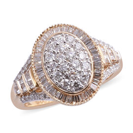 ILIANA 18K Yellow Gold IGI Certified Diamond (Rnd and Bgt) (SI / G-H) Ring 1.00 Ct, Gold wt 5.50 Gms