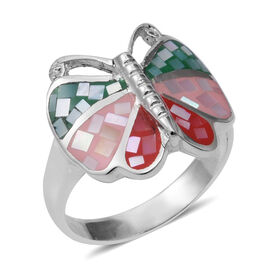 Mosaic Mother of Pearl Butterfly Ring in Sterling Silver, Silver wt 5.82 Gms.