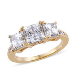 J Francis Made with Swarovski Zirconia 3 Stone Ring in Gold Plated Sterling Silver