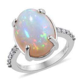 RHAPSODY 950 Platinum AAAA Wegeltena Ethiopian Welo Opal (Ovl 16x12 mm),  Diamond (VS/E-F) Ring 5.75