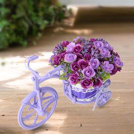 Nostalgic Bicycle Artificial Flower Decor Plant Stand (Size: 26x13x18 Cm) - Purple