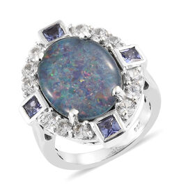 Australian Boulder Opal (Ovl 16x12 mm), Natural Cambodian Zircon and Tanzanite Ring in Platinum Overlay Sterling Silver, Silver wt 5.8 Gms.