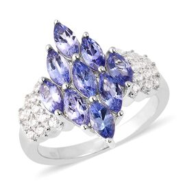 3 Ct Tanzanite and Zircon Cluster Ring in Rhodium Plated Sterling Silver