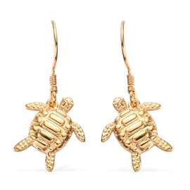 14K Gold Overlay Sterling Silver Turtle Hook Earrings