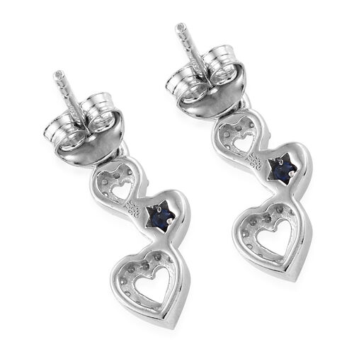 GP Diamond (Rnd), Kanchanaburi Blue Sapphire Heart Earrings (with Push Back) in Platinum Overlay Sterling Silver 0.310 Ct.