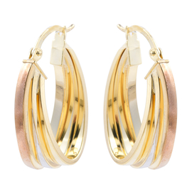 New York Close Out Deal - 9K Tricolour Gold Earrings with Clasp, Gold Wt. 4.23 Gms