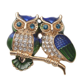 Blue and White Austrian Crystal Enamelled Owl Couple Brooch in Gold Tone