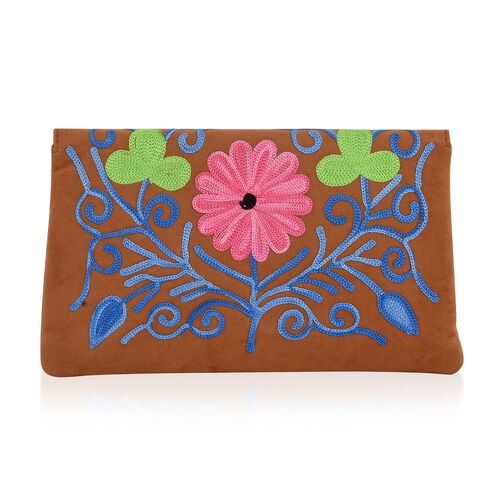 Tan, Blue and Multi Colour Floral Hand Embroidered Suede Clutch (Size 20X12 Cm)
