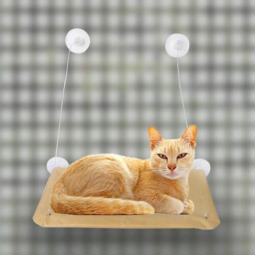 Khaki Colour Window Mounted PET Bed in Stainless Steel (Size 55.8x30.48x3.81 Cm)