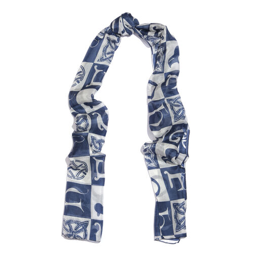100% Mulberry Silk Blue and Off White Colour Alphabets in Chunky Cubes Hand Screen Printed Scarf (Size 180X50 Cm)