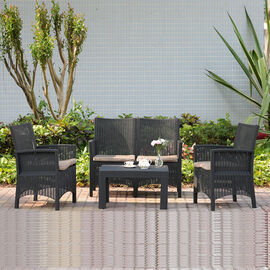 4 Piece Set - Durable Outdoor Rattan Style Sofa Set with Four Seat Cushion (Includes one Loveseat, T