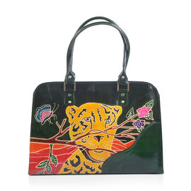Close Out Deal- 100% Genuine Leather Black and Multi Colour Hand Painted Leopard Pattern Shoulder Ba