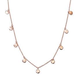 Rose Gold Overlay Sterling Silver Drop Station Necklace (Size 18), Sliver wt. 6.00 Gms