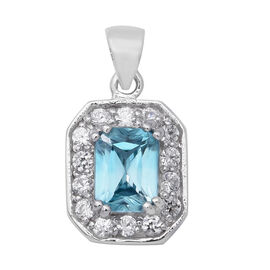 Blue and White Zircon Halo Pendant in Rhodium Plated Sterling Silver