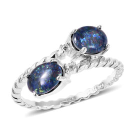 GP  Boulder Opal, Natural Cambodian Zircon and Blue Sapphire Bypass Ring in Rhodium Overlay Sterling