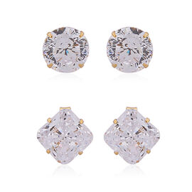 Set of 2 - ELANZA AAAA Special Radiant Cut Simulated Diamond Stud Earrings (with Push Back)  in 14K