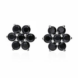 Boi Ploi Black Spinel (Rnd) Floral Stud Earrings (with Push Back) in Sterling Silver 3.00 Ct.