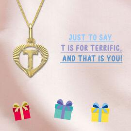 9K Yellow Gold Diamond Cut T Initial Heart Pendant