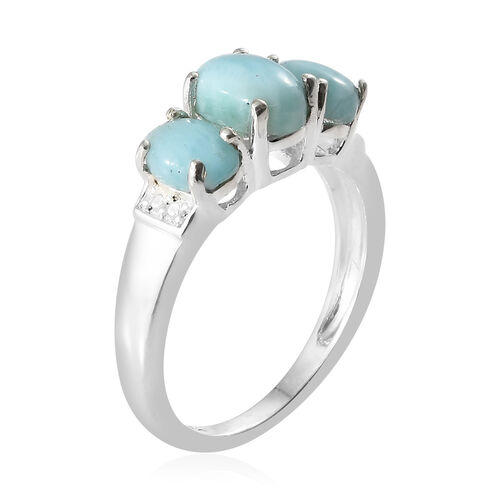 Larimar (Ovl) Three Stone Ring in Sterling Silver 2.000  Ct.