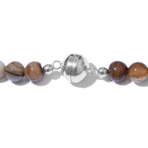 Brown Agate Graduated Beads Necklace (Size 20) in Platinum Overlay Sterling Silver 316.000 Ct.