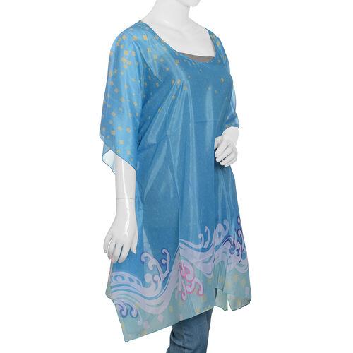 New Arrival- Blue and Multi Colour Digital Printed Kaftan (Size 90x65 Cm)