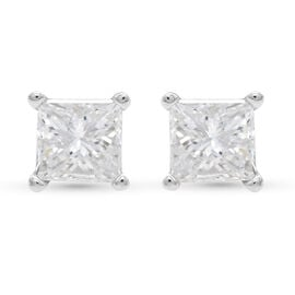 NY Close Out 14K White Gold Natural Diamond (I1-I2/G-H) Stud Earrings (with Screw Back) 1.00 ct.