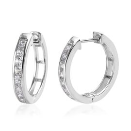J Francis Made with SWAROVSKI ZIRCONIA Hoop Earrings in Platinum Plated Sterling Silver