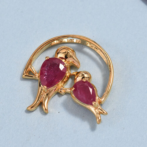 African Ruby (Pear) Mother Child Bird Pendant in 14K Gold Overlay Sterling Silver 1.25 Ct.