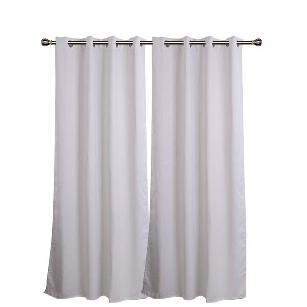 2 Piece Set - Blackout Curtains with Metal Eyelets (Size 140x240cm/Curtain) - Off-White