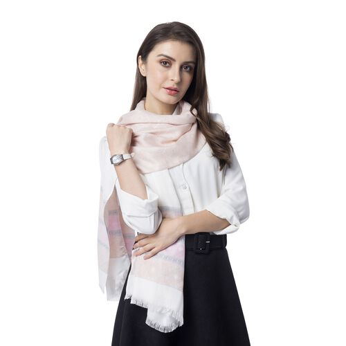 Khakhi, Pink and Multi Colour Strip and Rhombus Pattern Scarf (Size 182x68 Cm)