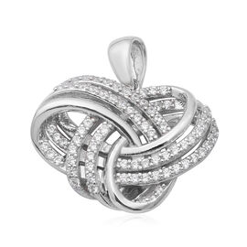 ELANZA AAA Simulated Diamond Knot Pendant in Rhodium Overlay Sterling Silver