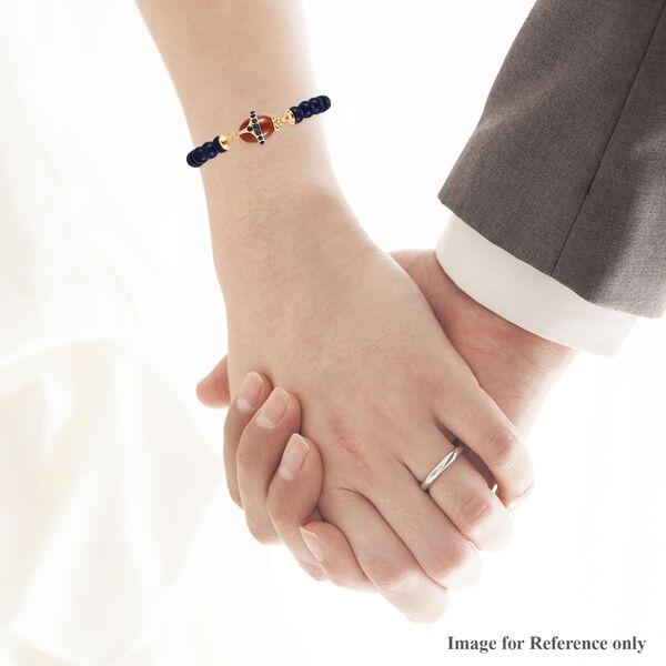 Sundays Child - Lapis Lazuli, Red Jade and Arizona Sleeping Beauty Turquoise Stretchable Bracelet (Size 7.75) in 14K Gold Over Sterling Silver