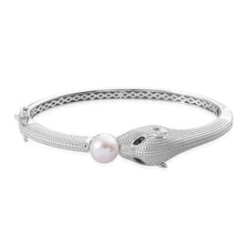 Freshwater White Pearl and Boi Ploi Black Spinel Leopard Head Bangle Size 7.5 in Silver Plated