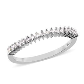 Diamond Stackable Half Eternity Ring in Platinum Overlay Sterling Silver 0.150 Ct.