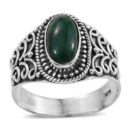 3.06 Ct Green Dyed Corundum Solitaire Ring in Sterling Silver 4.46 Grams