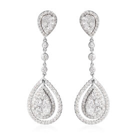 14K White Gold Diamond (Rnd) (I1-I2/G-H) Drop Earrings (with Push Back) 2.50 Ct., Gold Wt. 6.80 Gms.