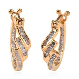 0.50 Ct Diamond Hoop Earrings in Gold Plated Sterling Silver with Clasp