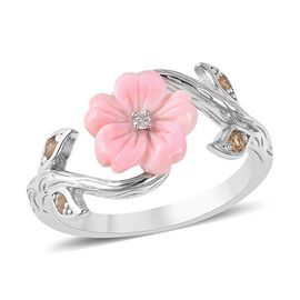 Jardin Collection - Pink Mother of Pearl, Citrine and Natural White Cambodian Zircon Floral Ring in