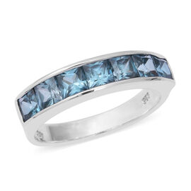 Blue Zircon (Sqr) 7 Stone Band Ring in Rhodium Overlay Sterling Silver 3.29 Ct.