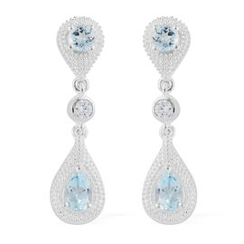 Designer Inspired- Sky Blue Topaz (Pear), Natural Cambodian Zircon Earrings in Sterling Silver 1.250 Ct.