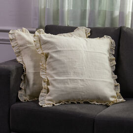 Set of 2 Cotton Linen Solid Cushion Cover with Ruffled Flange (Size - 45x4 Cm) - Butter Cream